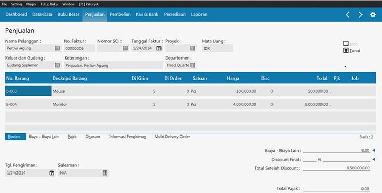 aplikasi akuntansi - input penjualan