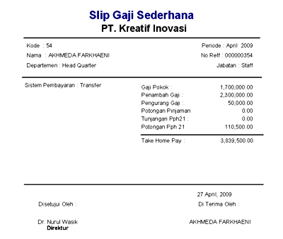 free download slip gaji format excel