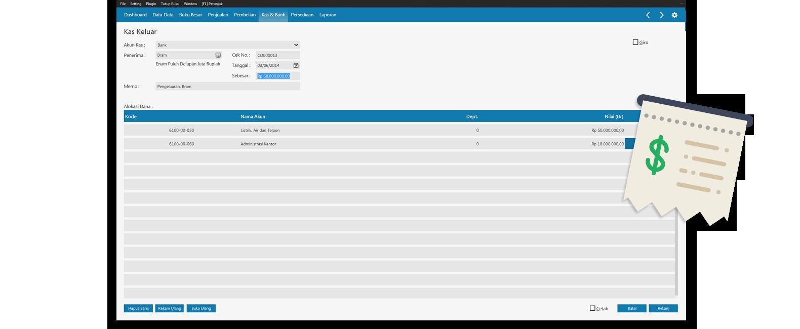 Solusi Bisnis Nirlaba | Laporan Kas | Software Akuntansi Online Zahir Accounting