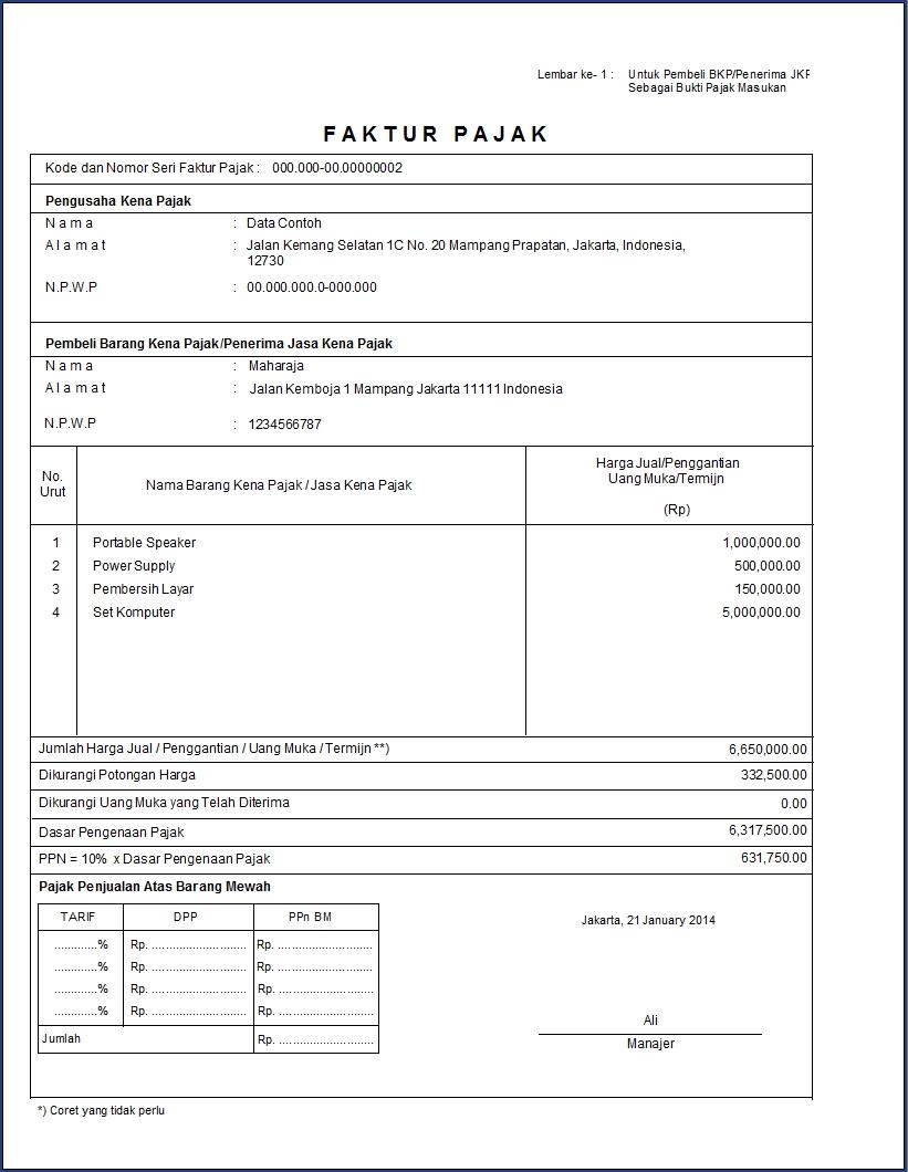 contoh faktur pajak