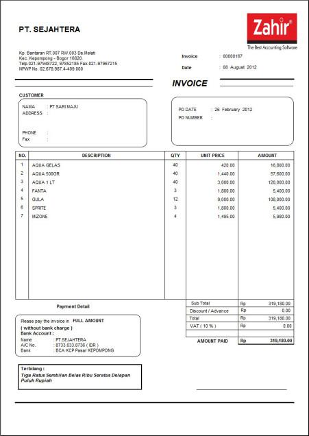 Contoh Faktur Penjualan Invoice Software Akuntansi Zahir Accounting